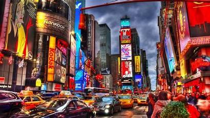 Square York Times Manhattan Night Colorful Building