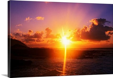 sunrise  ocean sandy beach park oahu hawaii wall