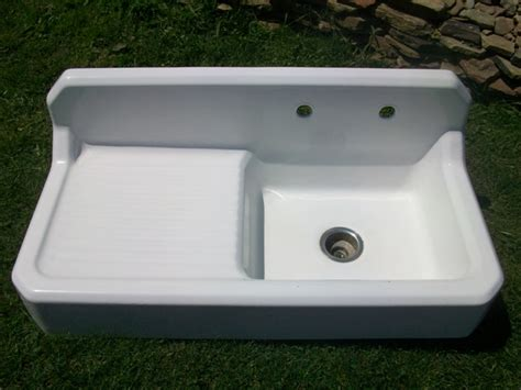 country kitchen sinks with drainboards kersey pennsylvania vintage single basin left side