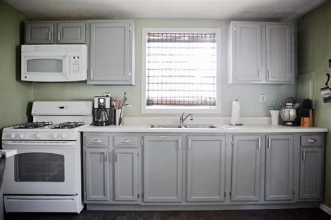painted grey kitchen cabinets gray cabinets green walls white appliances cabinets are 3974