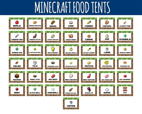 minecraft food labels minecraft food tents birthday
