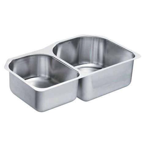 stainless steel undermount kitchen sink double bowl moen 1800 series undermount stainless steel 34 25 in