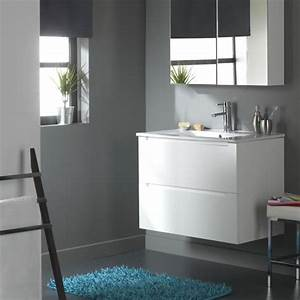 meuble de salle de bain 80 cm 2 tiroirs blanc l achat With meuble salle de bain en 120 cm 1 vasque