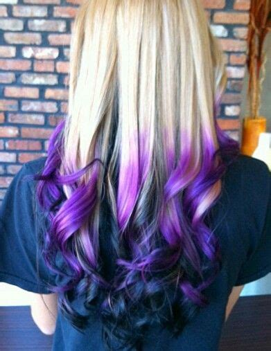 Blonde Purple Black Ombre Dip Dyed Hair Dyed Hair