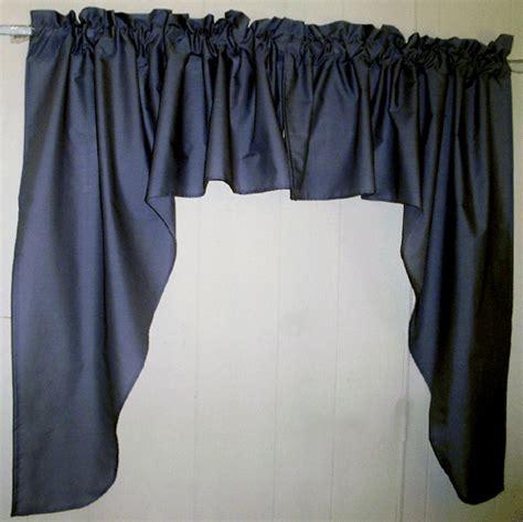 navy blue swag window valance set