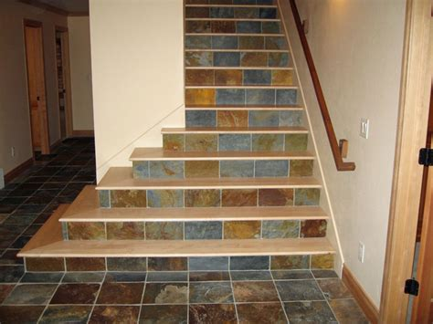 maple stair treads with tile risers staircase other