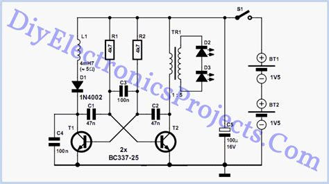 Circuit Diagram Led Torch by Two Cell Led Torch Electronic Circuits