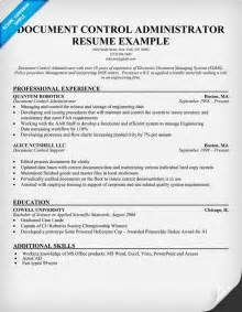 exle of resume for document controller document administrator resume exle