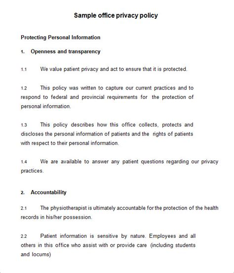 11+ Privacy Policy Templates - PDF, DOC | Free & Premium ...