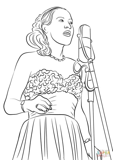 billie holiday coloring page  printable coloring pages