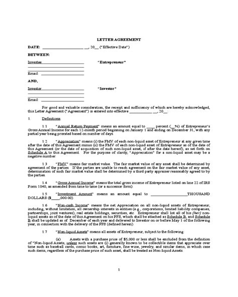investment template contract agreement letter handypdf forms