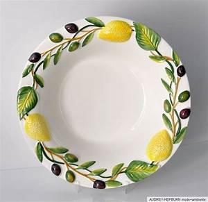 Keramik Geschirr Mediterran : mediterranes geschirr sch ssel 34 cm zitrone oliven relief ~ Michelbontemps.com Haus und Dekorationen