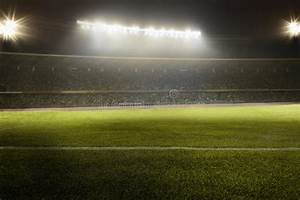 View Of Soccer Field At Night Stock Photo - Image of ...