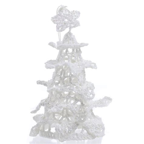 white iridescent crocheted christmas tree ornament