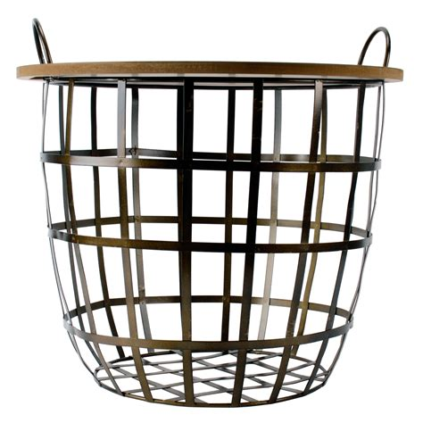 side table with baskets side table wearable metal basket vintage living room
