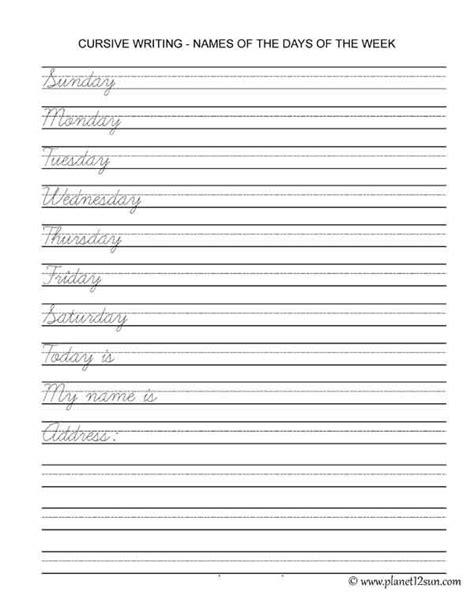 free printable pdf cursive writing names of the days of