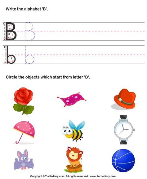 identify words that start with b worksheet turtle diary 115 | identify words that start with b