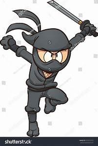 Cartoon Ninja Running. Vector Clip Art Illustration With ...