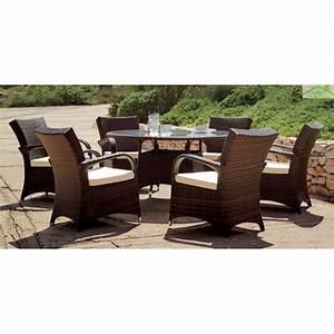 Table Ronde 140 Cm : salon de jardin table ronde set oregon hevea 6 places 140 cm ~ Teatrodelosmanantiales.com Idées de Décoration