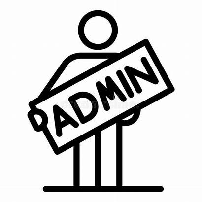 Admin Icon Inscription Outline Isolated
