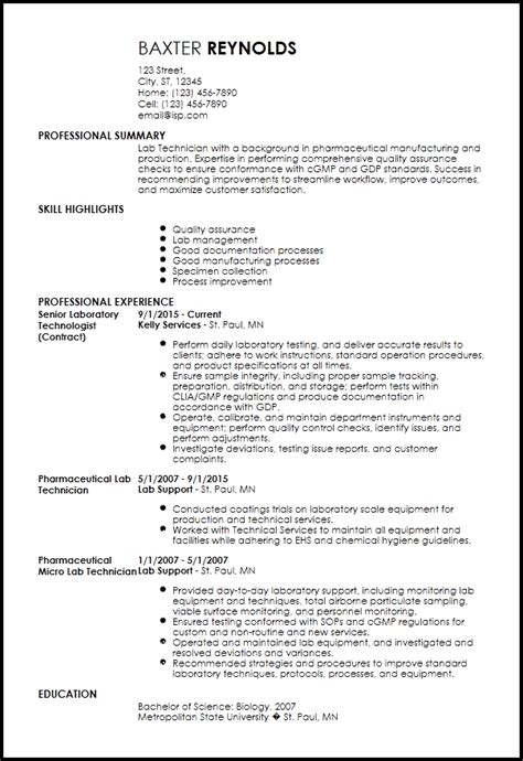 Laboratory Technician Resume by Lab Technician Resume Photos Manufacturing
