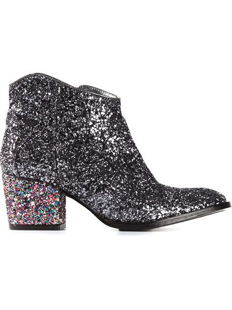 lyst zadig voltaire glitter ankle boots  metallic