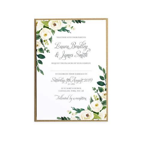 White Wedding Invitations, White Floral Watercolour, White ...