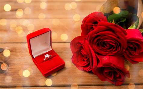 wedding ring   bouquet  red roses widescreen
