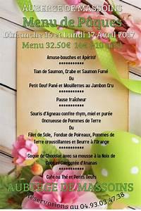 Lundi De Pâques 2017 : auberge menu de p ques massoins site officiel ~ Melissatoandfro.com Idées de Décoration