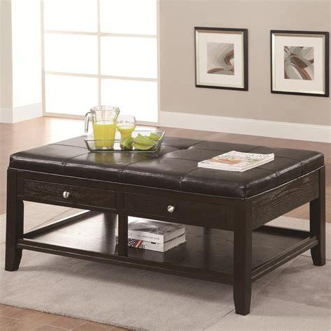 Coaster 702498 Brown Leather Coffee Table Stealasofa