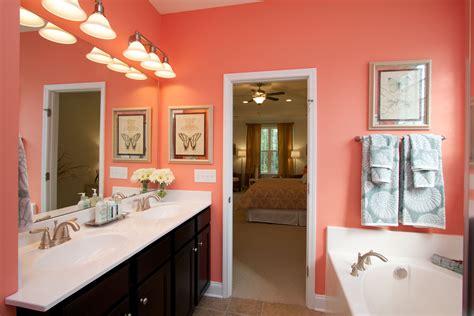 love  bright coral colored bathroom   cute