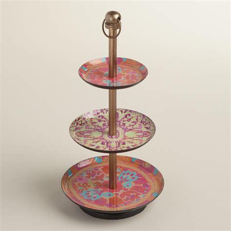 Warm Rug Print Enameled Three Tier Jewelry Stand World