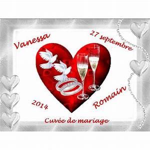 Etiquette Champagne Mariage : etiquette bouteille champagne colombes et coeurs ~ Teatrodelosmanantiales.com Idées de Décoration