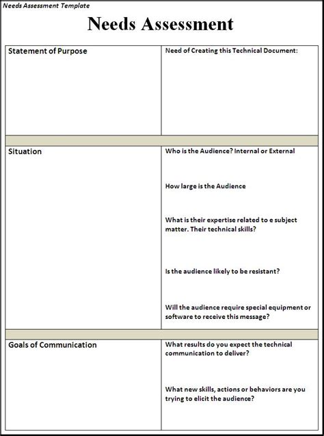 assessment templates  word templates