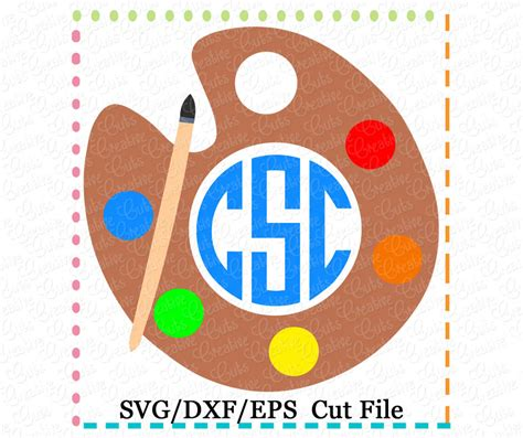 Monogram Paint Palette Cutting File Svg Dxf Eps Creative