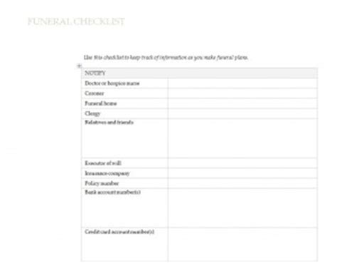 Funeral Service Sheet Template by Funeral Planning Checklist Template Free Printables Word
