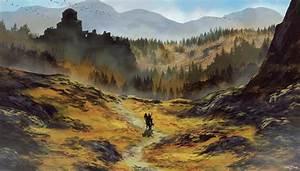 landscape horseman traveler castle mountain