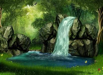 Forest Artistic Wallpapers Mystical Tree Background Waterfall