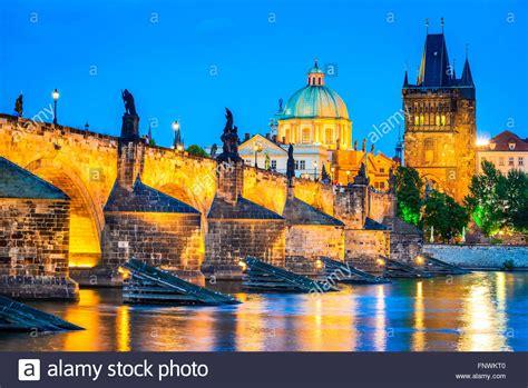 Prague Czech Republic Night View With Vltava River