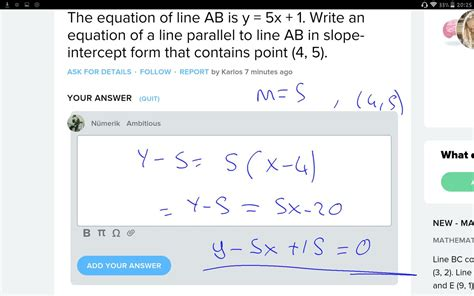 The Equation Of Line Ab Is Y = 5x + 1. Write An Equation