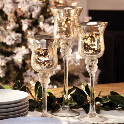 decorative crackled silver glass hurricane candle holders
