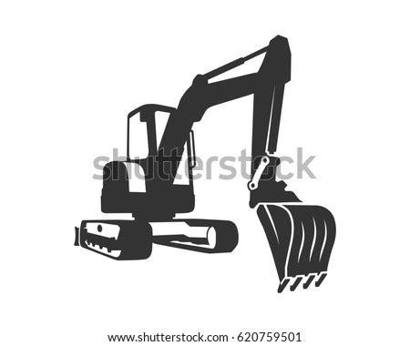 silhouette vector black excavator  white stock vector  shutterstock