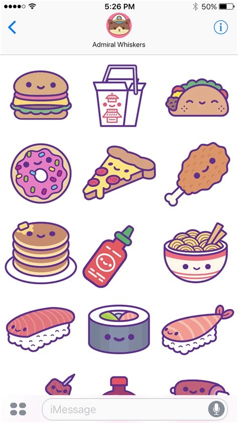 stickers vitres cuisine kawaii food ios stickers 100