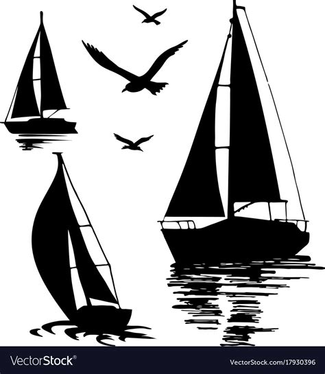 Sailboat Outline Vector Free by Silhouette Of A Sailing Boat On A White Royalty Free Vector