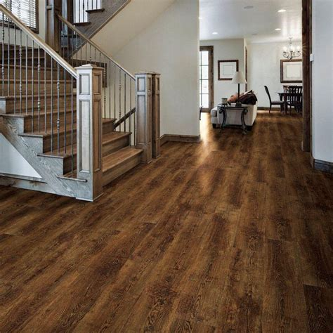vinyl plank flooring basement home decorators collection 7 in x 48 in hand scraped rustic hickory vinyl plank flooring 28