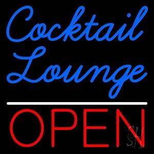 Cursive Cocktail Lounge Open 1 Neon Sign