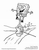 Coloring Pages Unicycle Spongebob Printable sketch template