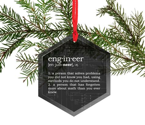 funny definition  engineer glass christmas ornament