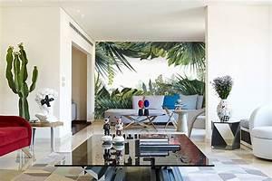Deco Mural Salon : papier peint trompe l il jungle tropicale nouveaut blog izoa ~ Teatrodelosmanantiales.com Idées de Décoration