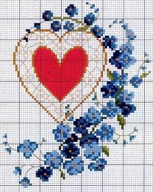 Forget Me Not Flower Cross Stitch Pattern
